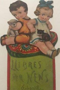 Antiguo cartel de cartón troquelado niños con animales. Échantillon 21,5x12 cm