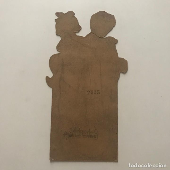 Antiguo cartel de cartón troquelado niños con animales. Échantillon 21,5x12 cm - 155081614