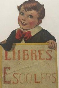 Antiguo cartel de cartón troquelado niños con pajarita. Échantillon 21,5x12 cm