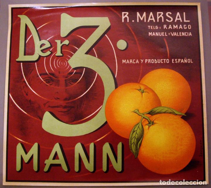 CARTEL DE NARANJAS - DER. 3 MANN- LITOGRAFÍA ANTIGUA. AÑOS 50 (Coleccionismo - Carteles Pequeño Formato)