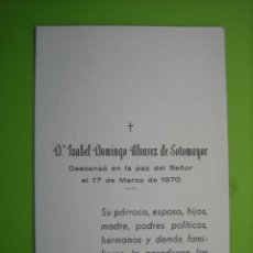 Coleccionismo de carteles: ESTAMPA ANTIGUA RELIGIOSA.FUNERAL.ISABEL DOMINGO ÁLVAREZ DE SOTOMAYOR. CÓRDOBA 1970. Lote 155994530