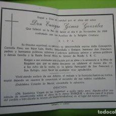 Coleccionismo de carteles: ESTAMPA ANTIGUA RELIGIOSA.FUNERAL. ENRIQUE GÓMEZ GONZÁLEZ .CÓRDOBA 1969. Lote 155994674
