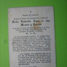 Coleccionismo de carteles: ESTAMPA ANTIGUA RELIGIOSA.FUNERAL ESTRELLA RUIZ DE LOS MOZOS Y GARCIA. ARJONILLA 1944. Lote 155995374