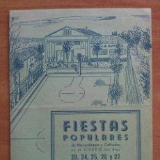Coleccionismo de carteles: 1952 FIESTAS POPULARES - EL VIVERO / PALMA. Lote 156013922