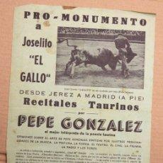 Coleccionismo de carteles: CARTEL PRO-MONUMENTO A JOSELITO EL GALLO. AÑO 1961. Lote 156139582