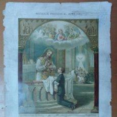 Coleccionismo de carteles: CROMOLITOGRAFIA RECUERDO PRIMERA COMUNION IGLESIA SAN VICENTE DE PAUL COLEGIO SAN GERVASIO 1889 BCN. Lote 157243910