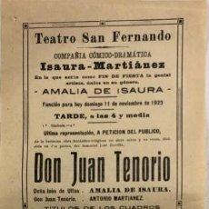Coleccionismo de carteles: TEATRO DE SAN FERNANDO. COMPAÑIA ISAURIA-MARTINEZ. AMALIA DE ISAURA. AÑO 1923. . Lote 158359014
