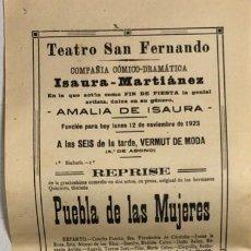 Coleccionismo de carteles: TEATRO DE SAN FERNANDO. COMPAÑIA ISAURIA-MARTINEZ. AMALIA DE ISAURA. AÑO 1923. . Lote 158359206