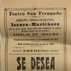 Coleccionismo de carteles: TEATRO DE SAN FERNANDO. COMPAÑIA ISAURIA-MARTINEZ. AMALIA DE ISAURA. AÑO 1923. SE DESEA UN HUESPED.. Lote 158359338