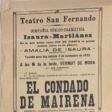 Coleccionismo de carteles: TEATRO DE SAN FERNANDO. COMPAÑIA ISAURIA-MARTINEZ. AMALIA DE ISAURA. AÑO 1923. EL CONDADO DE MAIRENA. Lote 158360502