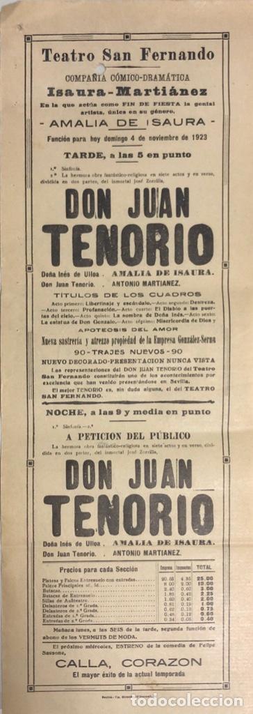 TEATRO DE SAN FERNANDO. COMPAÑIA ISAURIA-MARTINEZ. AMALIA DE ISAURA. AÑO 1923. DON JUAN TENORIO. (Coleccionismo - Carteles Pequeño Formato)
