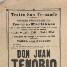 Coleccionismo de carteles: TEATRO DE SAN FERNANDO. COMPAÑIA ISAURIA-MARTINEZ. AMALIA DE ISAURA. AÑO 1923. DON JUAN TENORIO.. Lote 158360686