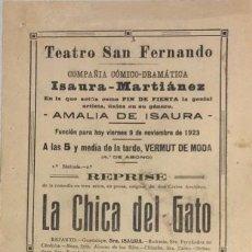 Coleccionismo de carteles: TEATRO DE SAN FERNANDO. COMPAÑIA ISAURIA-MARTINEZ. AMALIA DE ISAURA. AÑO 1923. CALLA CORAZON.. Lote 158360886