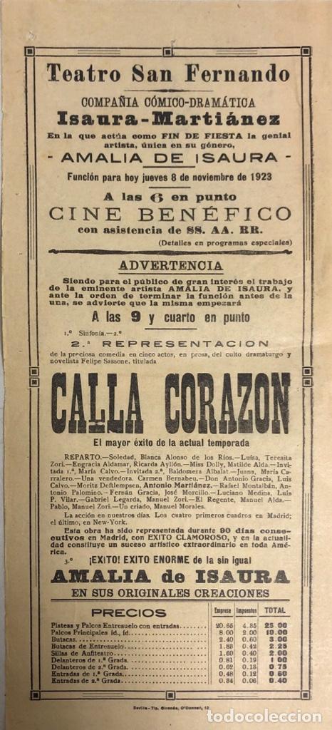 TEATRO DE SAN FERNANDO. COMPAÑIA ISAURIA-MARTINEZ. AMALIA DE ISAURA. AÑO 1923. CALLA CORAZON. (Coleccionismo - Carteles Pequeño Formato)