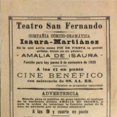 Coleccionismo de carteles: TEATRO DE SAN FERNANDO. COMPAÑIA ISAURIA-MARTINEZ. AMALIA DE ISAURA. AÑO 1923. CALLA CORAZON.. Lote 158360990