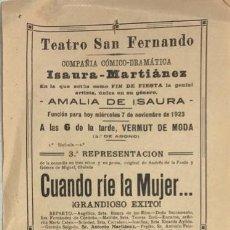 Coleccionismo de carteles: TEATRO DE SAN FERNANDO. COMPAÑIA ISAURIA-MARTINEZ. AMALIA DE ISAURA. AÑO 1923. CALLA CORAZON.. Lote 158361090