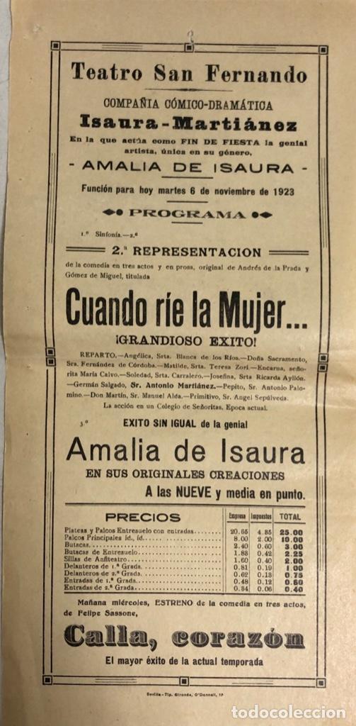 TEATRO DE SAN FERNANDO. COMPAÑIA ISAURIA-MARTINEZ. AMALIA DE ISAURA. AÑO 1923. CUANDO RIE LA MUJER. (Coleccionismo - Carteles Pequeño Formato)