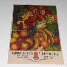Collectionnisme d'affiches: ANTIGUO CARTEL PUBLICITARIO LABORATORIOS Y DESTILERIAS LADES - JOSE GIRBES - VALENCIA AÑOS 40. Lote 159262734