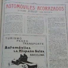 Coleccionismo de carteles: AUTOMOVILES LA HISPANO SUIZA SISTEMA BIRKIGT ACORAZADOS PRIMERA FABRICA ESPAÑOLA HOJA AÑO 1907. Lote 161107362