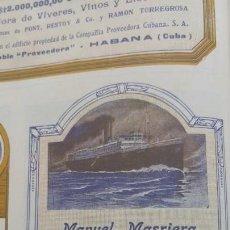 Coleccionismo de carteles: FABRICA DE GENEROS DE PUNTO MANUEL MASRIERA MATARO ESPECIALIDAD MEDIAS Y CALCETINES HOJA AÑO 1920. Lote 263156870