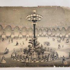 Coleccionismo de carteles: MALAGA - MUY ANTIGUO CARTEL ANTIGUAS VISTAS DE LA PLAZA DE LA CONSTITUCIÓN CORPUS CHRISTI. Lote 163400554