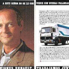 Coleccionismo de carteles: 1987 HOJAS REVISTA PUBLICIDAD CAMIONES RENAULT DR 340 T. Lote 163486846