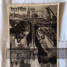 Coleccionismo de carteles: SEMANA SANTA SEVILLA. ANTIGUO CARTEL ACARTONADO. SERRANO. FOURNIER.. Lote 163770733