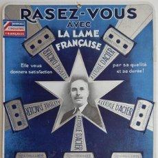 Coleccionismo de carteles: LETRERO ANTIGUO, TEMA: AFEITADO / RASEZ-VOUS AVEC LA LAME FRANÇAISE. Lote 164585814