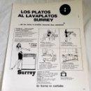 Coleccionismo de carteles: ANTIGUA PUBLICIDAD DE LAVAPLATOS SURREY - EXTRAÍDA DE REVISTA 1963 - 31X24CM. Lote 165067130