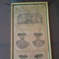 Coleccionismo de carteles: CARTEL ENMARCADO PLAZA DE TOROS VALENCIA. 31 DE JULIO 1908. BOMBITA. MACHAQUITO . GALLO. REGATERIN.. Lote 166118334