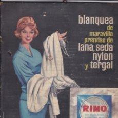 Coleccionismo de carteles: CARTEL DE CARTON PUBLICIDAD BLANQUEADOR RIMO VER FOTO ADICIONAL MEDIDAS 22X 30 CM.. Lote 167007248