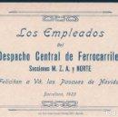 Coleccionismo de carteles: TARJETA DE FELICITACION DE LOS EMPLEADOS DEL DESPACHO CENTRAL DE FERROCARRILES - BARCELONA 1923. Lote 168700536