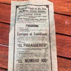 Coleccionismo de carteles: CARTEL TEATRO COLEGIO SANTA CRUZ CADIZ - AÑO 1944 - MEDIDA 22X10 CM. Lote 168731160