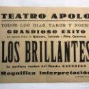 Coleccionismo de carteles: VALENCIA. CARTEL TEATRO APOLO. GRANDIOSO ÉXITO DEL SAINETE. LOS BRILLANTES (H.1940?). Lote 169027430