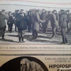 Coleccionismo de carteles: ALFONSO XIII REY VISITA A LA ESCUELA PRACTICA DE INGENIEROS ZAPADORES 1 HOJA AÑO 1924. Lote 170000184
