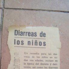 Coleccionismo de carteles: PEQUEÑA PUBLICIDAD DIARREA DE LOS NIÑOS - ELIXIR ESTOMACAL SAIZ DE CARLOS - AÑOS 40. Lote 170001028