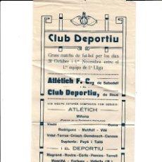 Coleccionismo de carteles: CARTEL PUBLICIDAD FUTBOL REUS -PARTIDO ENTRE ATLETIC DE SABADELL Y CLUB DEPORTIU REUS- ANTES DE 1920. Lote 170282788