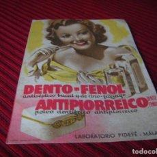 Coleccionismo de carteles: MUY ANTIGUO ANUNCIO DENTO - FENOL.. Lote 170545760
