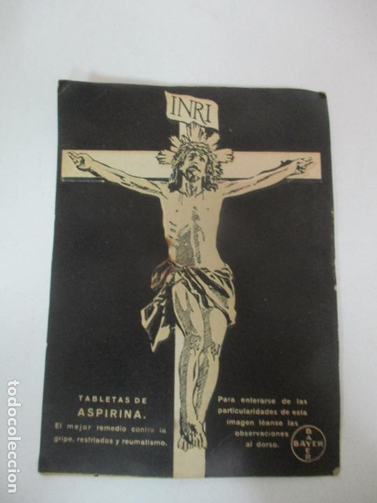 PEQUEÑO CARTEL PUBLICITARIO - ASPIRINA BAYER - CRISTO CRUCIFICADO (Coleccionismo - Carteles Pequeño Formato)