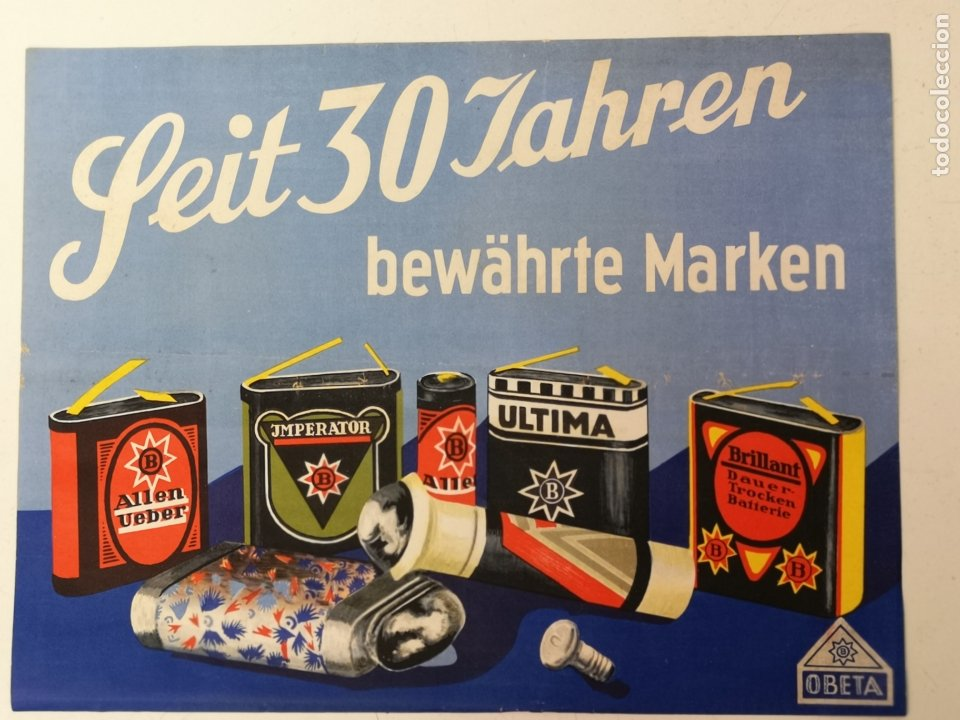 PILA ALCALINA, OSKAR BOTTCHER BERLIN AÑOS 30 (Coleccionismo - Carteles Pequeño Formato)