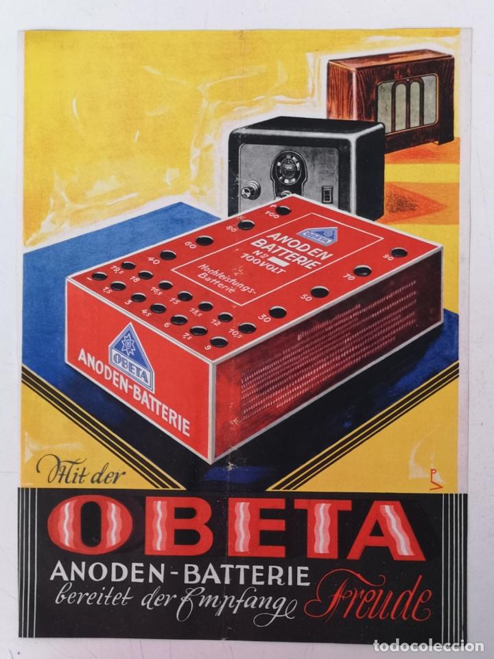 ANODEN BATTERIE, OSKAR BOTTCHER BERLIN AÑOS 30 (Coleccionismo - Carteles Pequeño Formato)