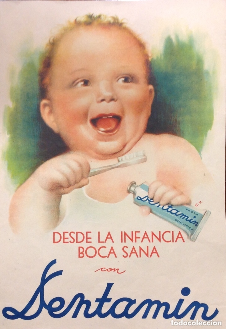 Coleccionismo de carteles: Carteles antiguos: Dentamin, desde la infancia boca sana; Sunbeam, de naranjas. Originales (años 50) - Foto 2 - 172795368