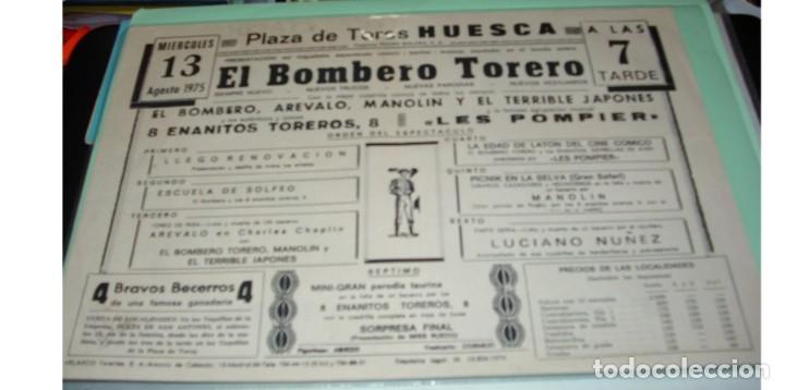 Coleccionismo de carteles: ESPECTÁCULO EL BOMBERO TORERO, DOBLE PG- HUESCA 1975- ORIGINAL MUY BONITO-IMPORTANTE LEER DECRIPCION - Foto 2 - 172995125