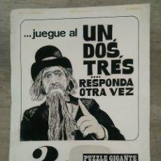 Coleccionismo de carteles: LAMINA UN DOS TRES RESPONDA OTRA VEZ. Lote 173370365