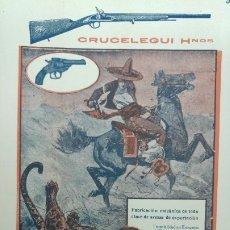 Collectionnisme d'affiches: CRUCELEGUI HERMANOS FABRICANTES DE ARMAS MARCA CAMPEON REVOLVERES PISTOLAS EIBAR HOJA AÑO 1920. Lote 173944682