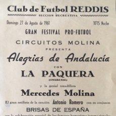 Coleccionismo de carteles: PROGRAMA FESTIVAL PRO-FUTBOL CLUB DE FÚTBOL REDDIS-REUS 1961. Lote 175102915