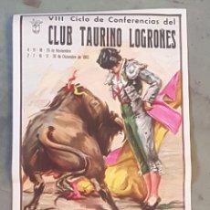 Coleccionismo de carteles: CLUB TAURINO LOGROÑES - CICLO CONFERENCIAS - 1983 - TDKP. Lote 176458179