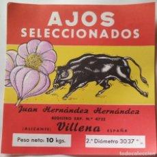 Coleccionismo de carteles: VILLENA JUAN HERNANDEZ HERNANDEZ PUBLICIDAD AJOS SELECCIONADOS . Lote 176500912