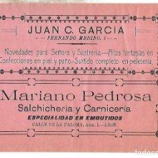 Coleccionismo de carteles: CARTEL PUBLICITARIO. LEON. JUAN GARCIA. MARIANO PEDROSA. 25 X 18CM. PRINCIPIOS SIGLO XX. Lote 176736232