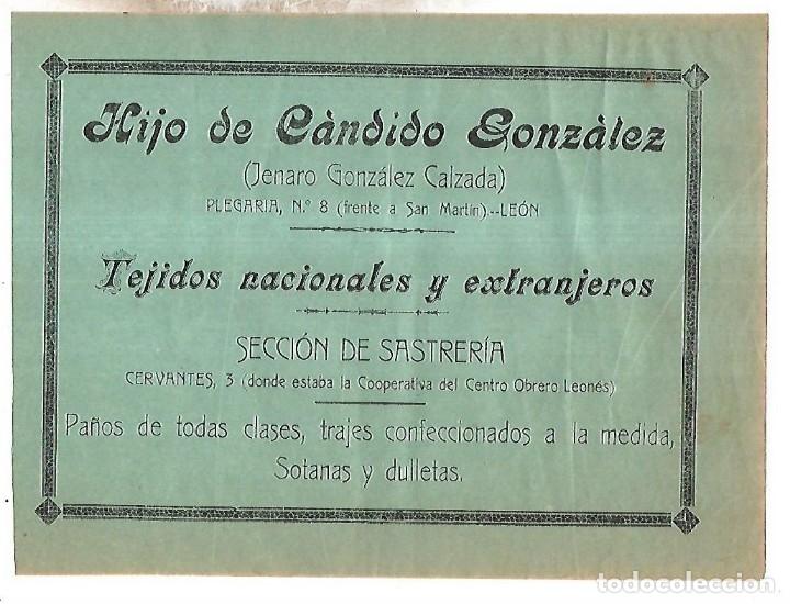 CARTEL PUBLICITARIO. LEON. HIJO DE CANDIDO GONZALEZ. 25 X 18CM. PRINCIPIOS SIGLO XX (Coleccionismo - Carteles Pequeño Formato)